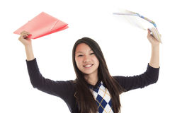 Young Asian student isolated on white background Stock Photo