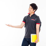 Young Asian student present something. Royalty Free Stock Image
