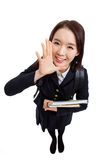 Young Asian student saying something high angle shot Royalty Free Stock Image