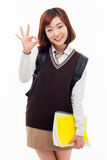 Young Asian student show okay sign Stock Images