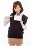 Young Asian student showing empty card Royalty Free Stock Photography