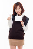 Young Asian student showing empty card Royalty Free Stock Photo