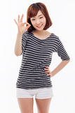 Young Asian student showing okay sign Stock Images