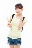 Young Asian student woman show fist. Stock Image