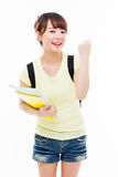 Young Asian student woman show fist. Royalty Free Stock Photography