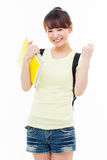 Young Asian student woman show fist. Stock Photo
