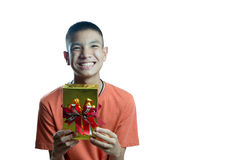 Young asian teenager happy to get a gift Royalty Free Stock Photography
