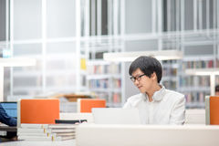 Young Asian university student working in library Royalty Free Stock Image