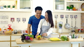 Young Asian wife is preparing clean food for husband