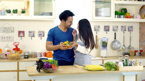 Young Asian wife is preparing clean food for husband. The young asian wife is preparing to make a vegetables salad for her newly awake husband and walks into the Royalty Free Stock Images