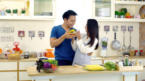 Young Asian wife is preparing clean food for husband. The young asian wife is preparing to make a vegetables salad for her newly awake husband and walks into the Stock Photography