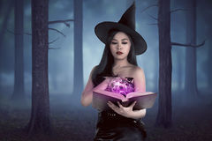 Young asian wizard woman holding spell book in the forest with f Royalty Free Stock Photography