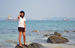Young asian woman on beach summer holiday Stock Photography