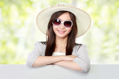Young asian woman with blank white board. copy space Stock Photos