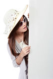 Young asian woman with blank white board. copy space Stock Photo