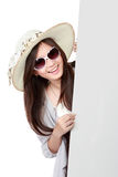 Young asian woman with blank white board. copy space Royalty Free Stock Images