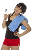 Young Asian woman with bottle of water stock images