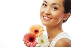 Young asian woman with bouquet flowers Royalty Free Stock Photography