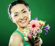 Young asian woman with bouquet flowers Royalty Free Stock Photos