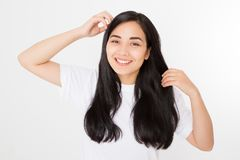 Young asian woman with brunette healthy clean shiny hair isolated on white background. Girl long hairstyle. Copy space. Young asian woman with brunette healthy royalty free stock images