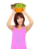Young asian woman with ca bowl of various vegetables Stock Images