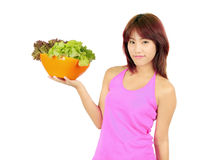 Young asian woman with ca bowl of various vegetables Royalty Free Stock Photos