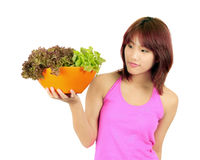 Young asian woman with ca bowl of various vetgetables Royalty Free Stock Photo
