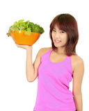 Young asian woman with ca bowl of various vetgetables Royalty Free Stock Photography