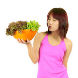 Young asian woman with ca bowl of various vetgetables Royalty Free Stock Photos