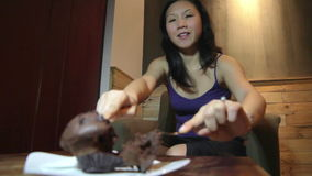 Young asian woman cake and diet stock video