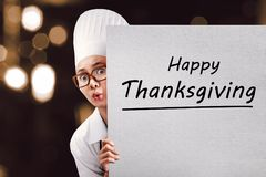 Young Asian Woman Chef With Happy Thanksgiving Message Stock Photography