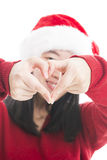 Young asian woman with Christmas hat isolated on white. Stock Image