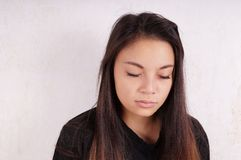 Young asian woman cries Royalty Free Stock Photos