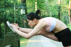 Young Asian Woman Doing Exercise Royalty Free Stock Photography