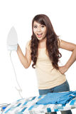Young asian woman doing the laundry Stock Images