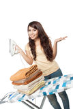 Young asian woman doing the laundry Stock Image