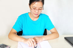Young asian woman drawing Stock Photography