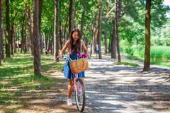 Young asian woman in dress with long hair rides a bicycle with basket and flowers tour summer city park, look and smile to camera. royalty free stock image