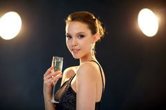 Young asian woman drinking champagne at party Stock Image