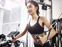 Young asian woman exercising working out in gym. Young asian woman working out in gym using exercising equipment royalty free stock photography