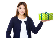 Young asian woman with a gift Stock Photos