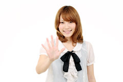 Young asian woman giving good bye Stock Photography