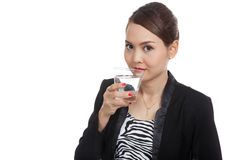 Young Asian woman with a glass of drinking water Stock Photos
