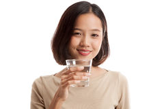 Young Asian woman with a glass of drinking water Stock Photo