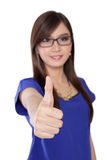 Young Asian woman in glasses giving a thumb up, isolated on white stock photography