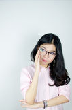 Young Asian woman with glasses Royalty Free Stock Photography