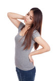 Young Asian woman got back pain Stock Images