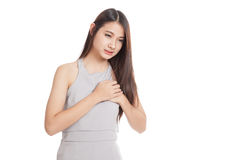 Young Asian woman got chest pain Stock Photography
