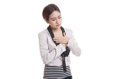 Young Asian woman got chest pain. Royalty Free Stock Photography