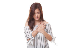 Young Asian woman got chest pain. Stock Photos